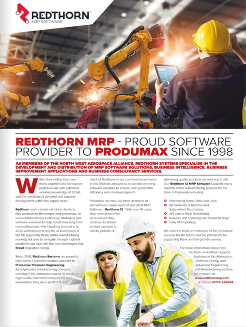 Redthorn Feature in Manufacturing and Engineering Magazine